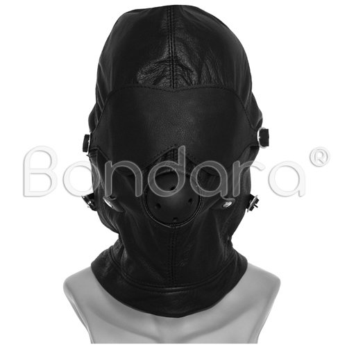 Black Leather Bondage Hood with Ball Gag
