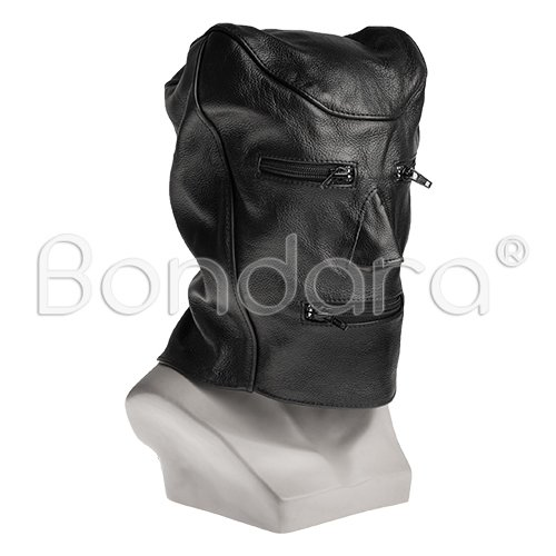 Black Leather Bondage Hood