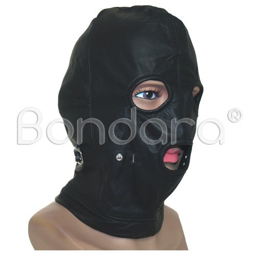 Black Bondage Leather Hood and Ball Gag