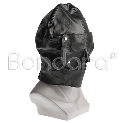 Black Leather Bondage Hood and Blindfold