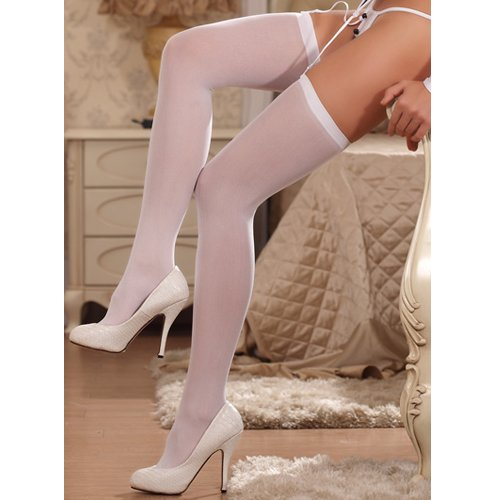 Bondara White Sheer Stockings - Bondara