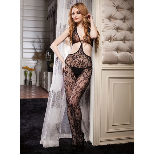 Lace Cut Out Crotchless Bodystocking