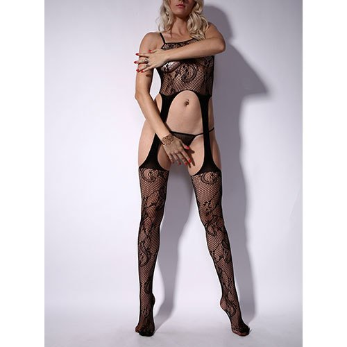 High-Waist Lace Chemise & Suspender Bodystocking