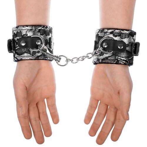Elegant Silver & Black Lace Handcuffs - Bondara