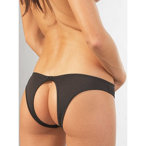 Mandy Mystery Black Crotchless Clasp Brief