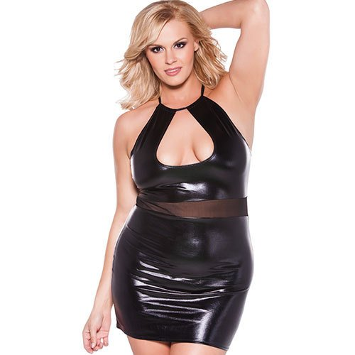 Plus Size Wet Look Halter Dress - Bondara