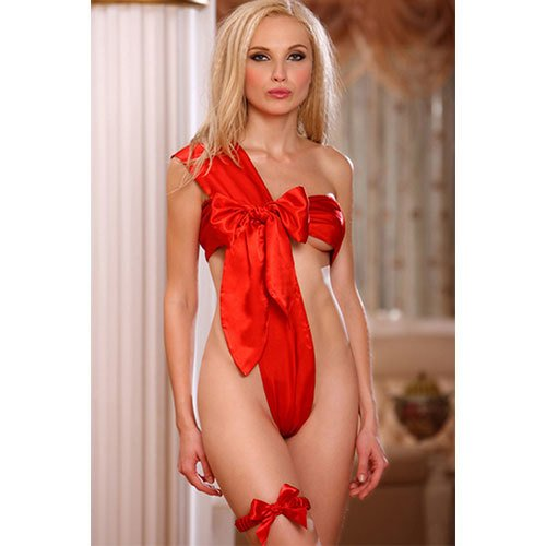 Bondara Unwrap Me Red Bow Teddy and Garter Belt Set