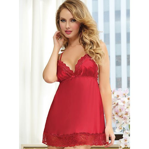 Seven Til Midnight Satin and Lace Two Piece Babydoll and Thong Set in Red