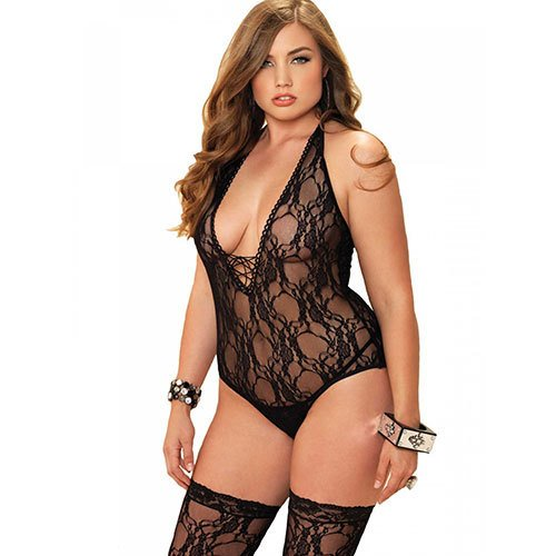 Plus Size Leg Avenue Floral Teddy with Lace Stockings