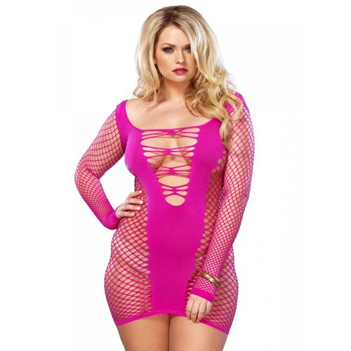 Plus Size Leg Avenue Pink Seamless Net Minidress