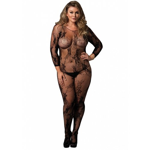 Plus Size Leg Avenue Floral Lace Long Sleeved Bodystocking