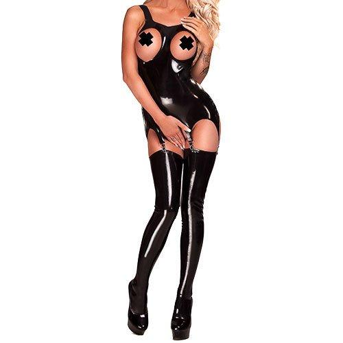 Bondara Latex Black Open Boob Garter Dress - Bondara