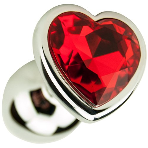 Silver Heart Shaped Jewelled Butt Plug