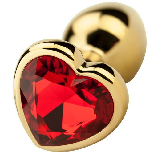 Gold Heart Shaped Jewelled Butt Plug