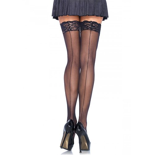 Leg Avenue Back Seam Lace Stockings in Black