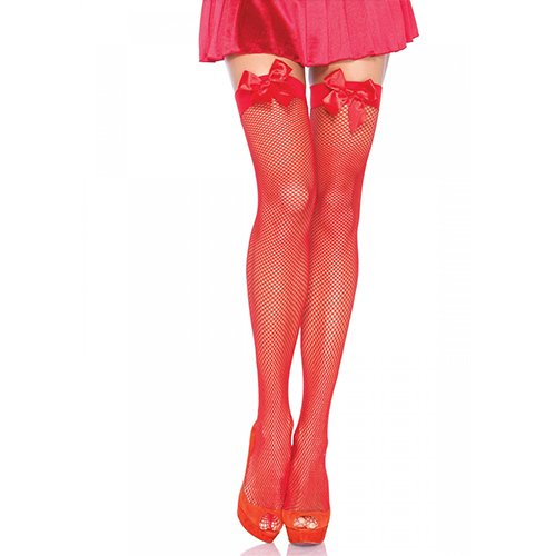 Leg Avenue Fishnet Hold Ups with Bow in Red