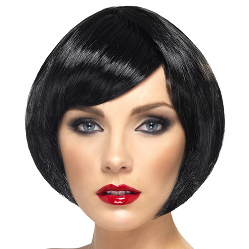 Sultry Black Bob Wig with Side Fringe