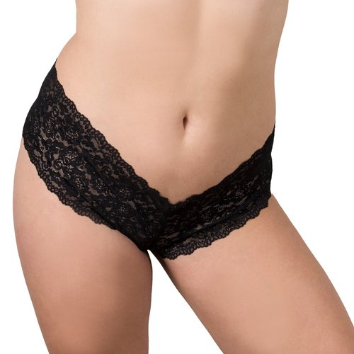 Bondara Belle Plus Size Black Lace Crotchless Boyshort