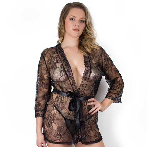 Bondara Belle Plus Size Black Lace Tie Up Robe and G-String