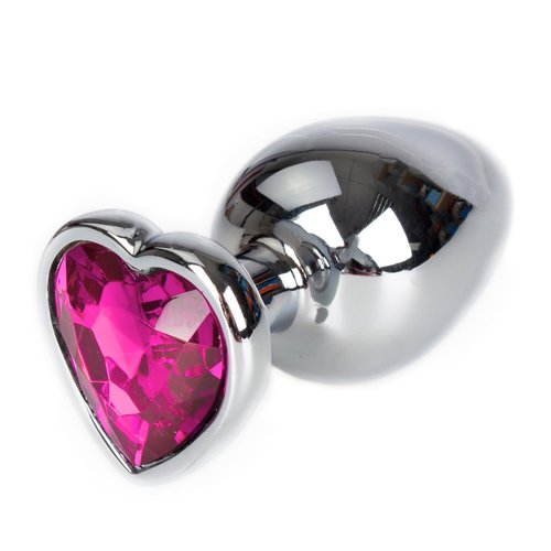 Bejewelled Metal Pink Heart Jewelled Butt Plug – 3, 3.5 or 4 Inch