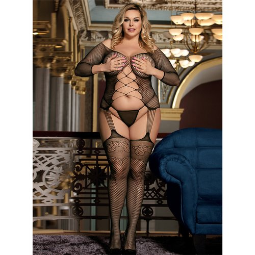 Bondara Belle Plus Size Crisscross Suspender Bodystocking