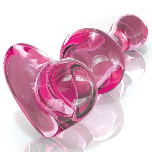 Icicles No. 75 Pink Glass Rippled Heart-Shaped Butt Plug – 3.89 Inch