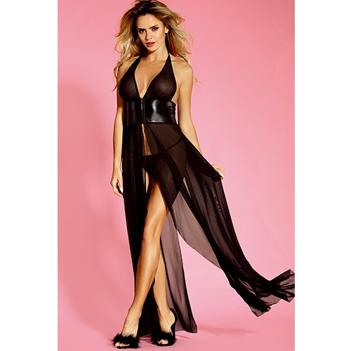 Bondara Belle Plus Size Double Slit Maxi Dress and Thong