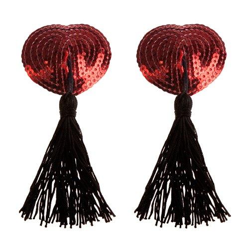 Bondara Red Burlesque Sequin Heart Nipple Tassels