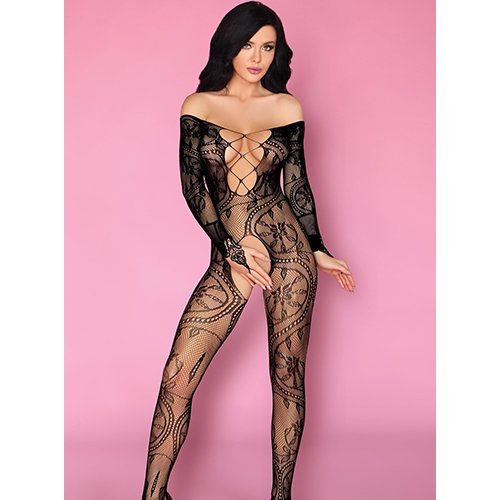Livia Corsetti Plunge Off-the-Shoulder Crotchless Bodystocking