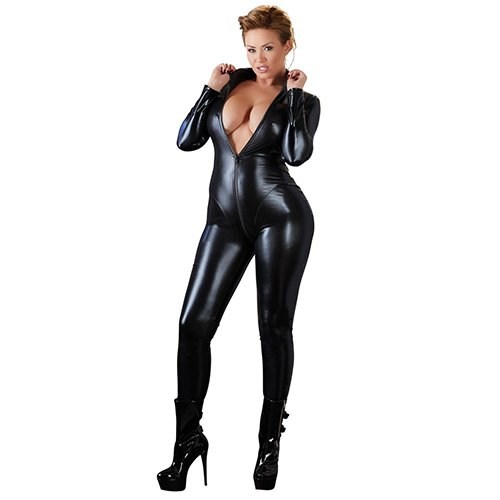 Cottelli Collection Plus Size Wet Look Zip-Up Catsuit