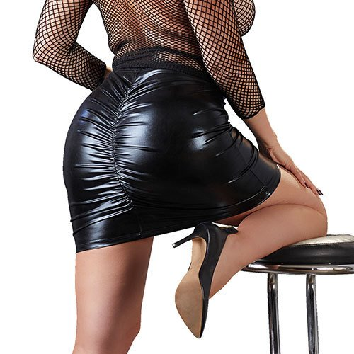 Plus Size Wet Look Ruched Skirt
