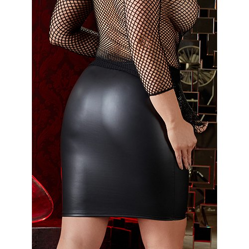 Plus Size Faux Leather Above Knee Skirt