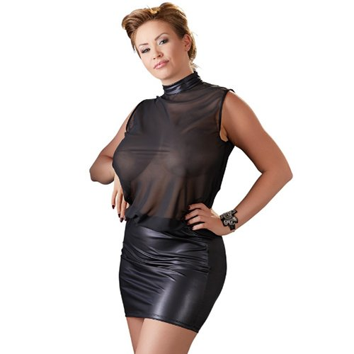 Plus Size Sheer and Faux Leather High-Neck Dress