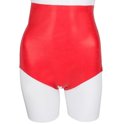 Bondara Siren Red Latex High Waist Crotchless Briefs