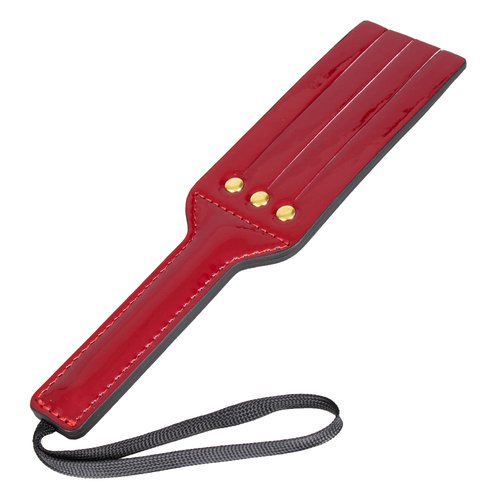 Bondara Double Sided Red Faux Leather Tawse Paddle - 9Inch
