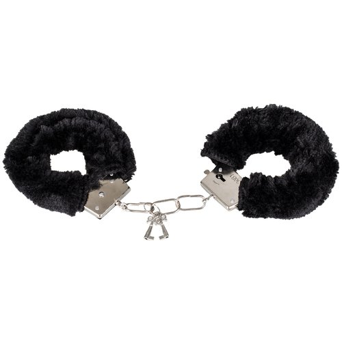 Bondara Comfortably Fun Black Faux Fur Metal Handcuffs