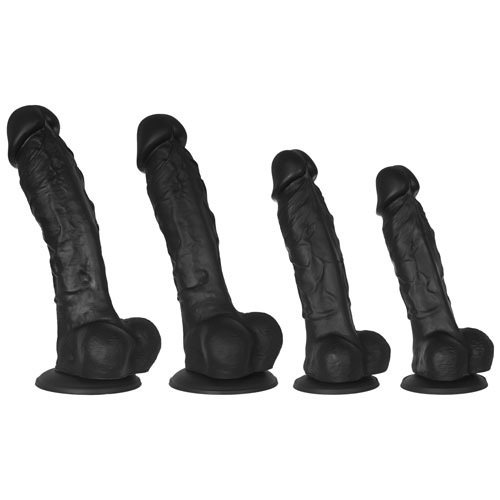 Black Mr Realist Luxury Silicone Dildo - 5 5.5 6.5 or 7.5 Inch - Bondara