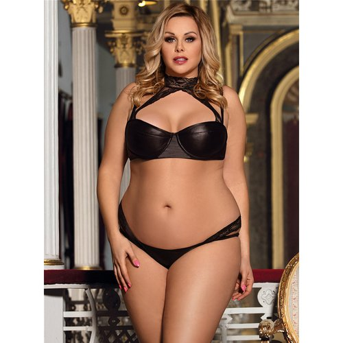 Bondara Belle Plus Size Rendezvous Lace Collar Bra and Panty