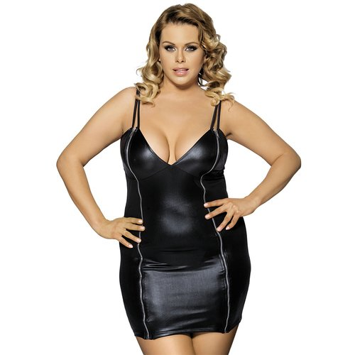 Bondara Belle Plus Size Zip It Faux Leather Dress and G-String