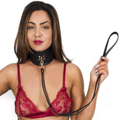 Bondara Luxe Gilded Cage Faux Leather Posture Collar And Leash