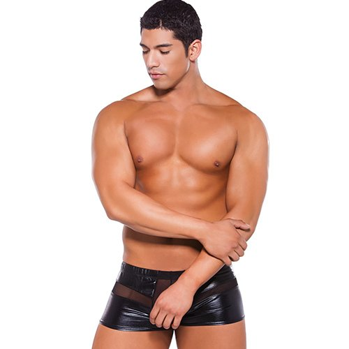 Zeus Wet Look Peek-a-Boo Boxer Shorts - Bondara