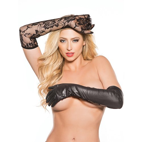 Kitten Lace and Wet Look Gloves