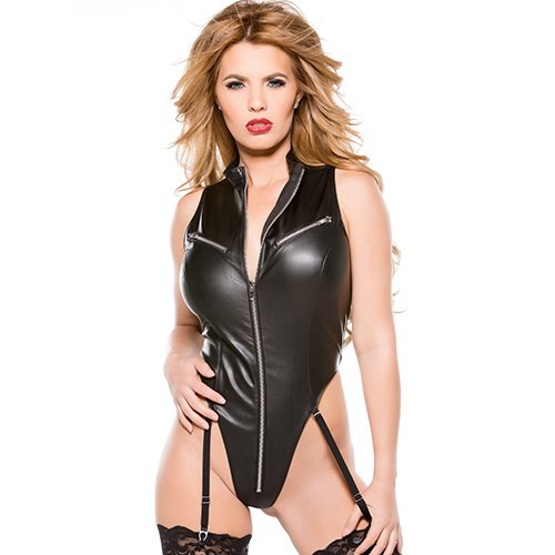 Zip Up Faux Leather Teddy