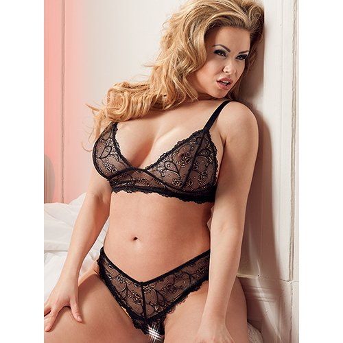 Cottelli Collection Plus Size Bralette and Crotchless Panty Set