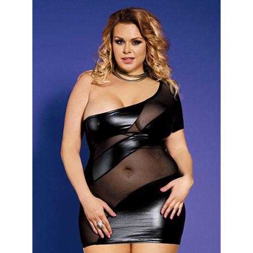 Bondara Plus Size Mesh and Wet Look Dress - Bondara