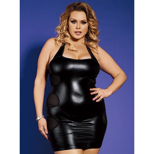Bondara Belle Plus Size Wet Look Dress and Thong