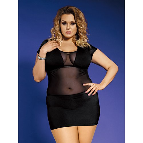 Bondara Belle Plus Size Sheer Body Dress