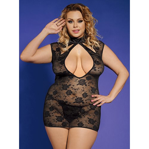 Bondara Plus Size Black Lace Keyhole Babydoll and G-String