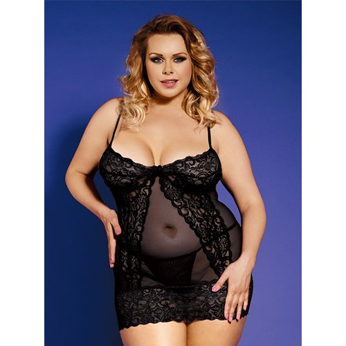 Bondara Belle Plus Size Lace Detail Dress and G-String