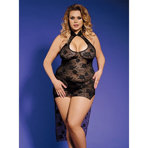 Bondara Belle Plus Size Lace High-Low Dress